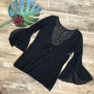 Black Flutter Sleeve Opaque Swim Cover Up